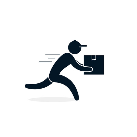 Courier in a hurry to deliver a package, Vector isolated icon for shipping service logistics. Delivery concept.  イラスト・ベクター素材