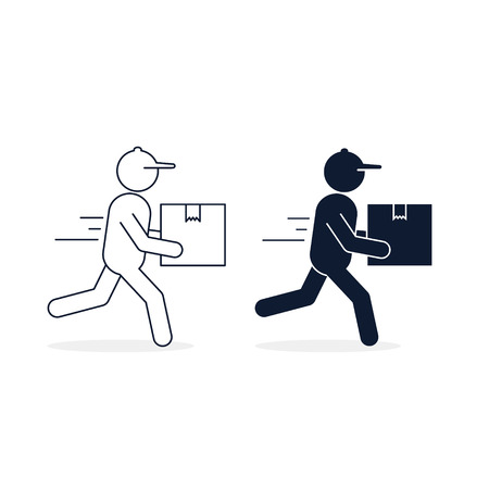 Man courier in a hurry to deliver a package, Vector isolated icon set for shipping service logistics. Delivery concept.  イラスト・ベクター素材