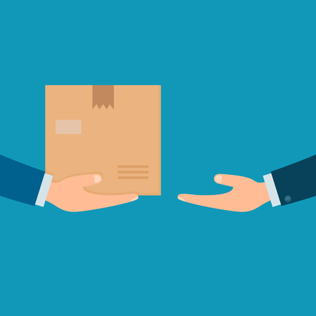 Hands with postal box. Delivery service concept. Vector illustration in flat design.