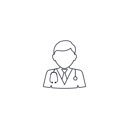 Doctor linear icon. Medical worker. Thin line illustration. Vector isolated outline drawing.