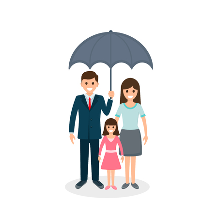 Family under umbrella, vector flat illustration insurance concept.