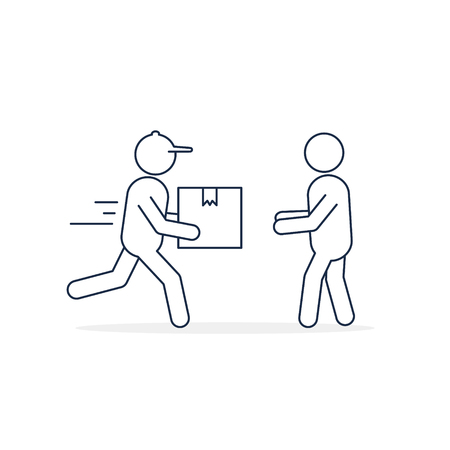 Delivery courier giving box to customer line icon. Fast Delivery concept. Vector isolated flat illustration.