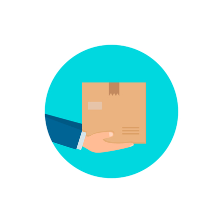 Deliver Hands with postal box. Delivery service concept. Vector illustration in flat style. 写真素材 - 125355234