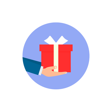 Gift box in hands, Vector isolated illustration. 写真素材 - 125355235