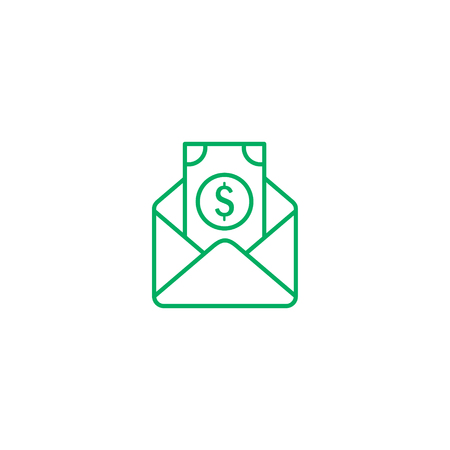 Salary Cash Money in Envelope Flat Line Stroke Icon Pictograml Vector Illustration. 写真素材 - 125355236