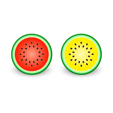 Watermelon slice on white background, red and yellow, Vector isolated illustration.