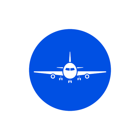 Plane icon. Flight transport symbol. Colored circle button with flat web icon. Vector.