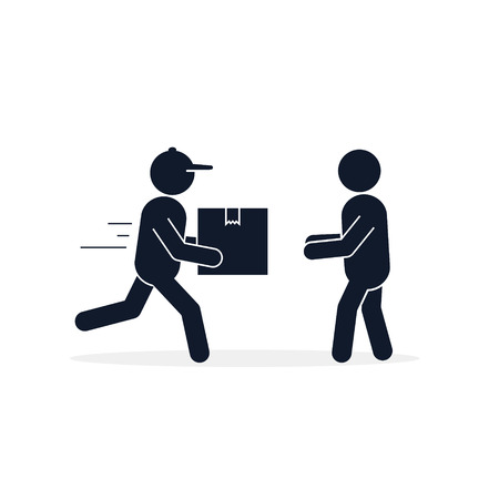 Delivery courier giving box to customer icon. Fast Delivery concept. Vector isolated flat illustration. 写真素材