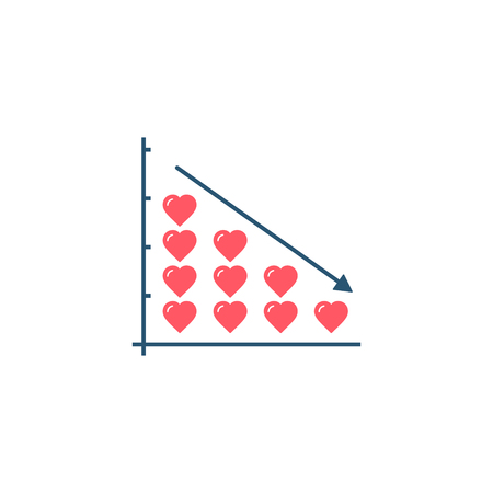 Heart stacks on growth graph diagram, Love or health progress concept, vector isolated illustration.