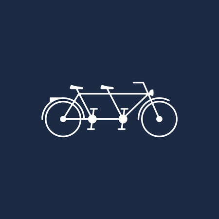 Tandem Bike vector icon in flat style isolated on white background. 写真素材