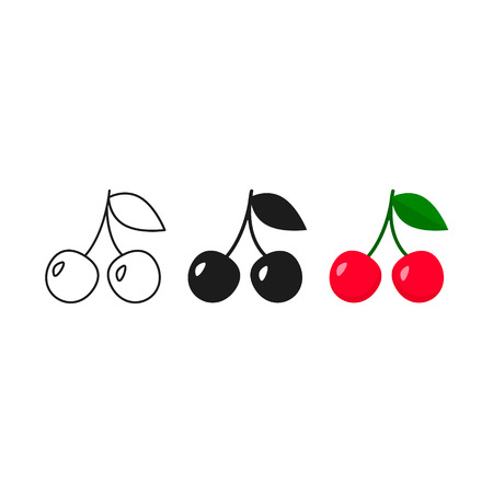 Cherry icon set. Vector isolated cherry sign in flat style.