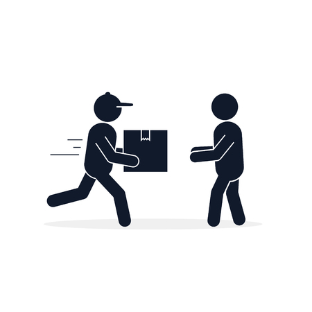 Delivery courier giving box to customer icon. Fast Delivery concept. Vector isolated flat illustration.  イラスト・ベクター素材