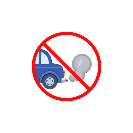 No idling turn engine off sign symbol icon on white transparent background. Forbidden exhaust round label.
