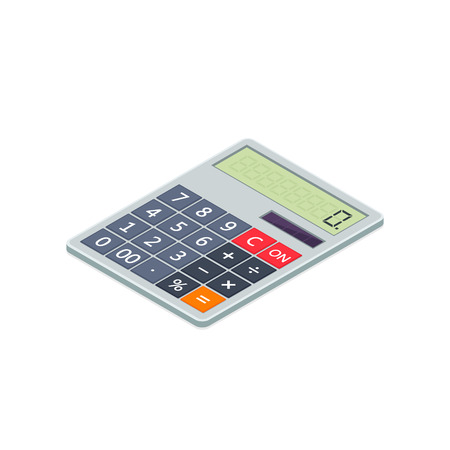 Calculator icon isometric illustration. 3d vector illustration isolated on white background. 写真素材 - 125355240
