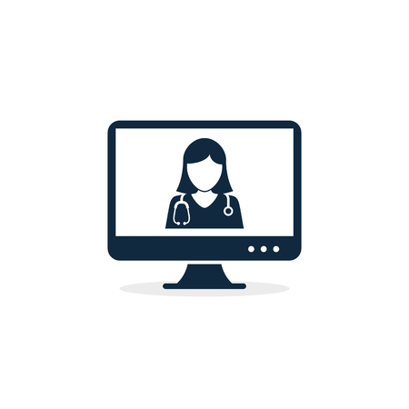 Online doctor in computer screen icon, vector illustration. Medical online consultation.