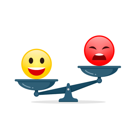 Smiley emoticons different mood on scales, vector icon. Positive attitude as advantage. Happiness versus sadness concept.