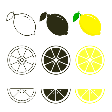 Lemon icon set fresh fruits, colorful, black and line icon collection of vector illustration.
