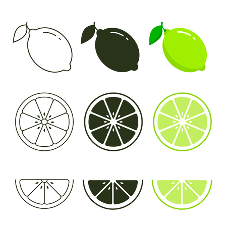 Lime icon set fresh fruits, colorful, black and line icon collection of vector illustration. Ilustracja