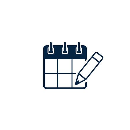 Calendar with pen icon, vector isolated simple illustration. planning concept.