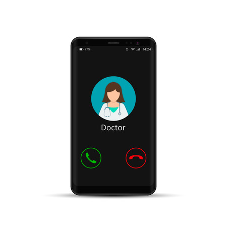 Smartphone with doctor on call and an online consultation. Vector flat illustration. Illustration