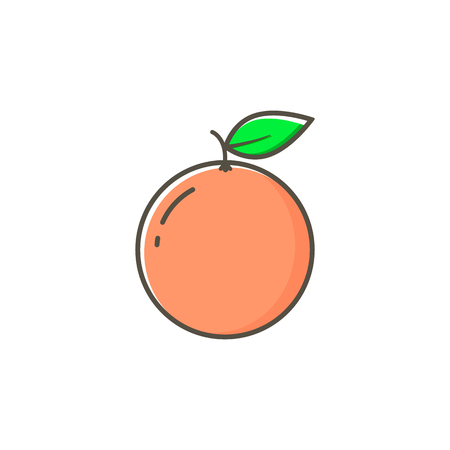 Grapefruit Icon. whole fruit. Vector illustration in a flat style.  イラスト・ベクター素材