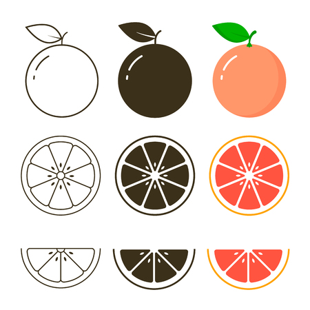 Grapefruit icon set on white background, vector illustration. 写真素材 - 122662485