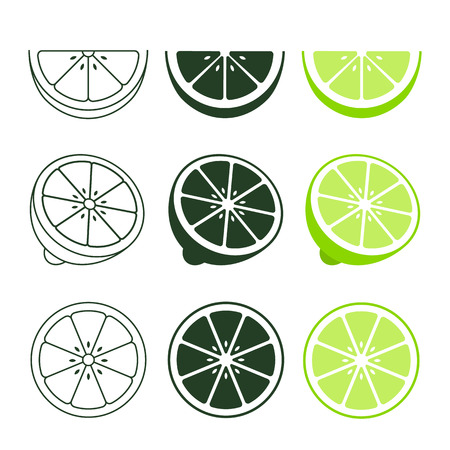 Lime icon set fresh cut fruits, colorful, black and line icon collection of vector illustration.