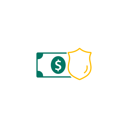 Money Protection Icon Vector. Money and shield icon Flat Design. Business Concept. Isolated Illustration.