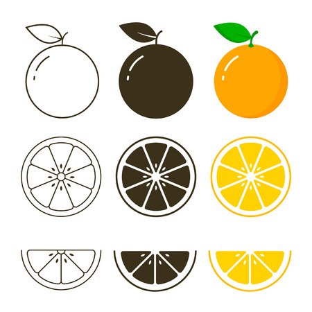 Orange fruit icon collection, vector outline and silhouette set, cut of orange.