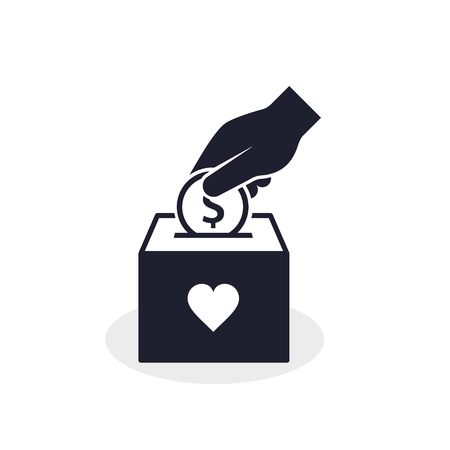 Donation Box and Hand with coin icon concept. Hand putting coin in the box. Vector Charity concept.