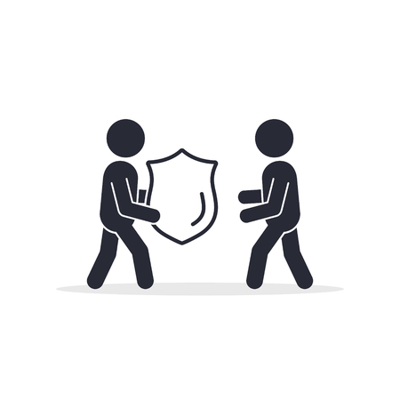 Man offer Shield protection to other man, Charity or insurance vector icon.  イラスト・ベクター素材
