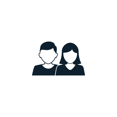 Man and woman Vector icon of couple. Vector silhouette of man and woman icon avatar profile picture.