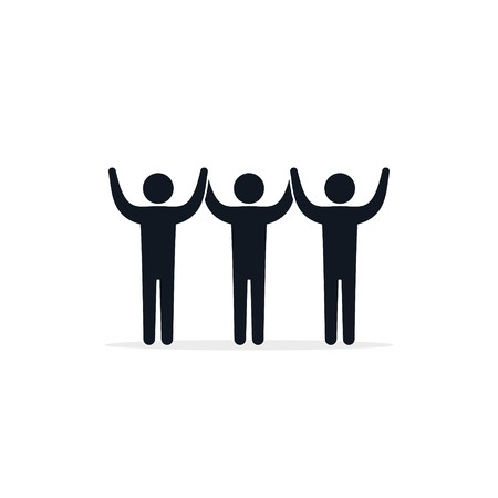 People raised their hands icon. Simple vector illustration.