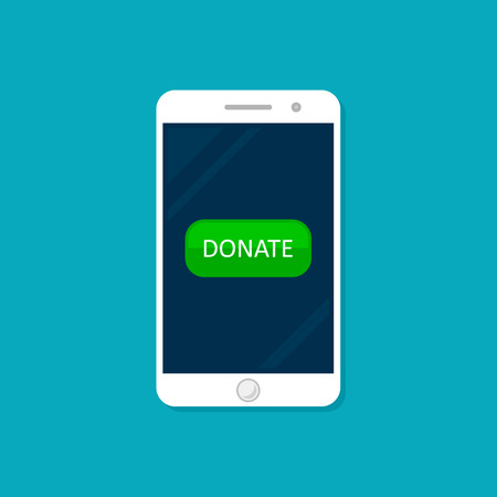 Online Donation smartphone with button on screen, Vector flat design.