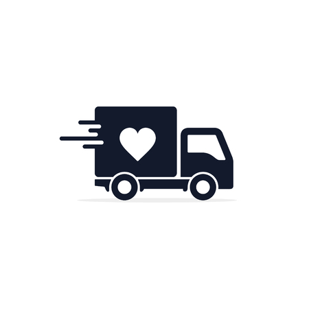 Delivery Truck with heart Charity icon. Charity truck simple vector concept.