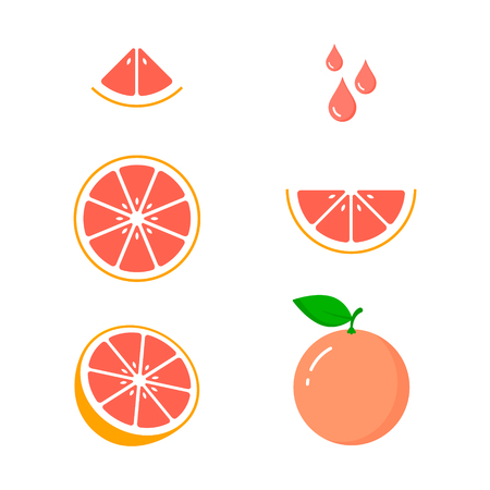 Grapefruit icon set on white background, vector isolated illustration. 矢量图像