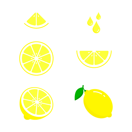 Lemon icon set fresh fruits, colorful, colorful icon collection of vector illustration.  イラスト・ベクター素材