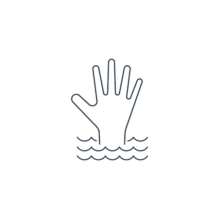 Hand of a drowning person in the water flat icon. Vector isolated illustration. Ilustracja