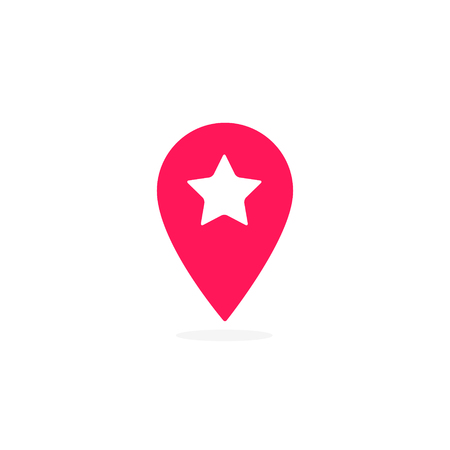Map pointer with star icon, vector isolated simple illustration. Ilustração