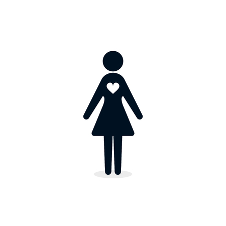Woman female with heart icon. Vector isolated Love or Charity concept illustration. Ilustracja