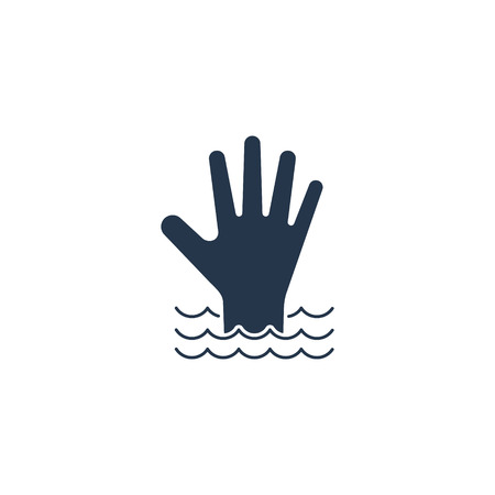 Hand of a drowning person in the water flat icon. Vector isolated simple illustration.