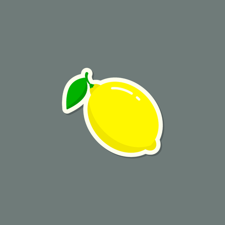Lemon Sticker fruit icon label with shadow, Vector isolated illustration.