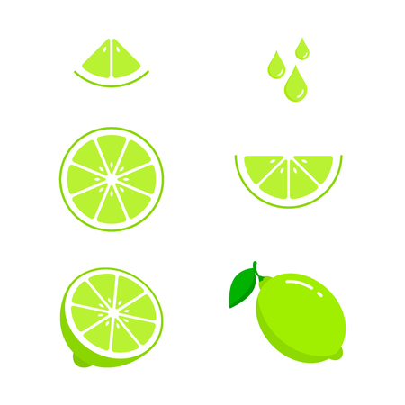 Lime icon set fresh fruits, colorful icon collection of vector illustration.