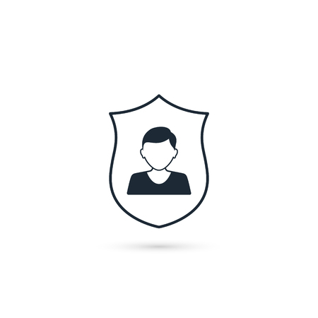 Man shield icon. Vector isolated insurance concept illustration.