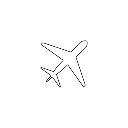 Plane line icon flat vector, outline illustration, pictogram isolated on white. Ilustracja