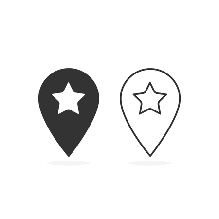 Map pointer with star icon set, vector isolated simple illustration. Ilustracja