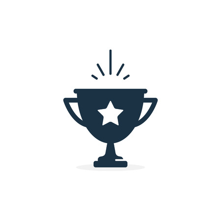 Winner cup Award with star Vector Icon Isolated on White Background. Ilustracja