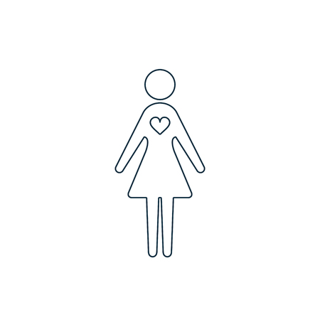 Woman female with heart icon. Vector isolated Love or Charity work concept line illustration.  イラスト・ベクター素材