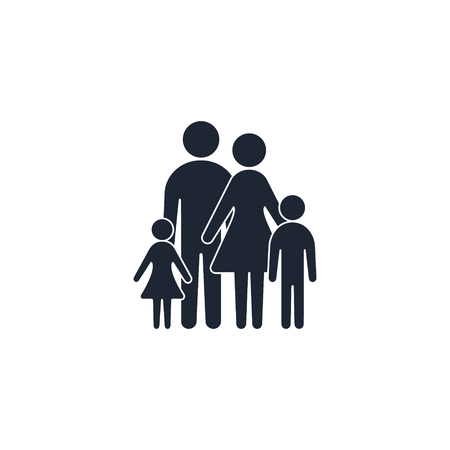 Family icon Symbol Logo. Father with mother and children silhouette illustration.