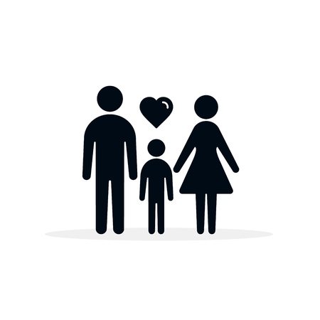 Family with heart icon, Vector isolated illustration.